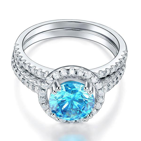 925 Sterling Silver Wedding Engagement Halo Ring Set 2 Carat Blue Created Diamond XFR8219