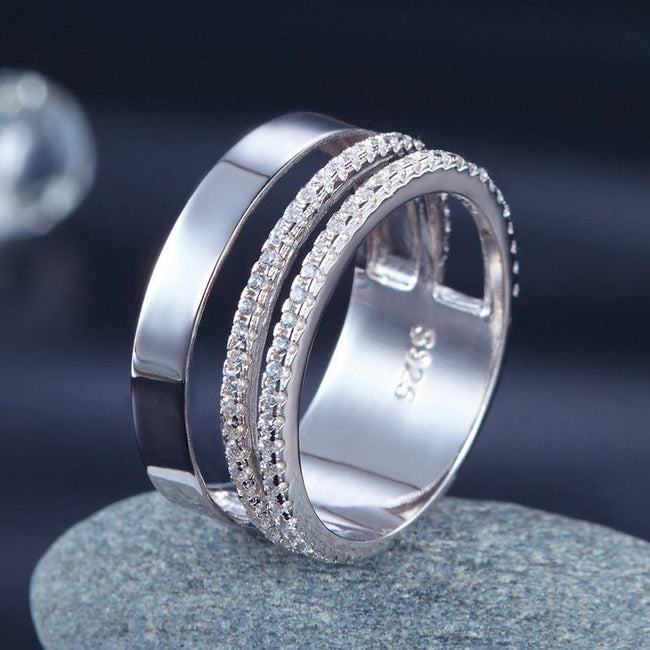 New Style Design Solid 925 Sterling Silver Wedding Band Ring XFR8274