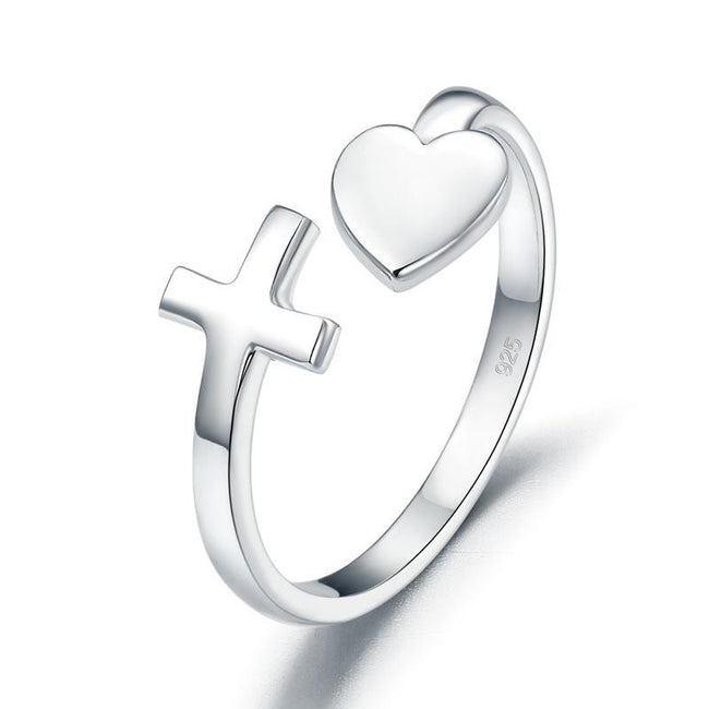 Plain Solid 925 Sterling Silver Ring Cross Heart for Lady Trendy Stylish XFR8287
