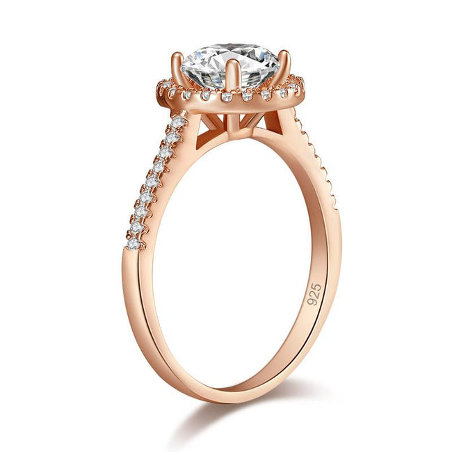925 Sterling Silver Wedding Engagement Rose Gold Plated Ring Created Diamond