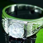 Cubic Zirconia Studs 18k White Gold Plated Wedding Mens Ring XMR122