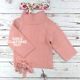 Peachy Pink Turtleneck Tie Sweater