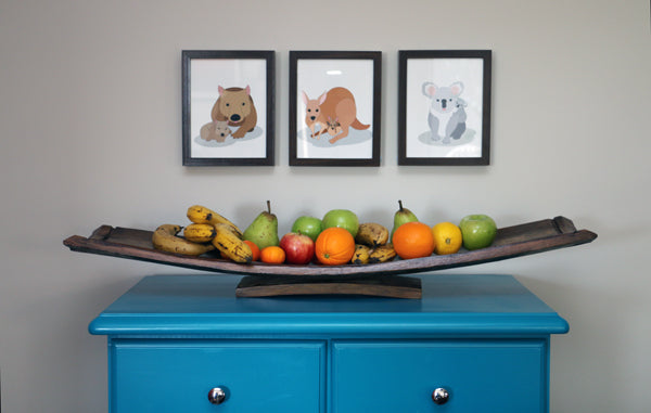 DIY Wine barrel fruit bowl