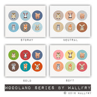 Woodland nursery art. Baby nursery art picture. Forest friends for baby nursery. Woodland artwork. Girls nursery. Print by WALLFRY