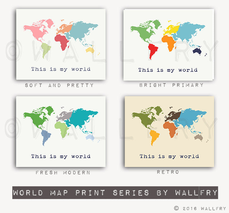 Large world map print SET OF 2 map prints. USA map and world map poster wall art for playroom, kids wall art. Map Prints by WallFry