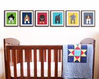 Puppy dog nursery decor. Dog canvas wrap art prints. SET OF 8 dog prints on gallery wrapped canvas by Wallfry for playroom decor.