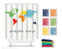 Shower curtain, bathroom decor. Children's bathroom decor. Kids bathroom decor. RULES shower curtain for bathroom by WallFry