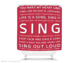 Singing in the shower Shower curtain, bathroom decor. Children's bathroom decor. Kids bathroom decor. SING shower curtain by WallFry