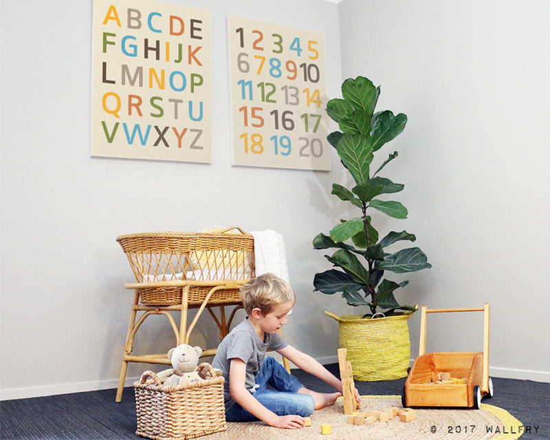 Large canvas wrap prints nursery decor. Alphabet and numbers prints on canvas. ABC. Nursery wall art, children wall art. Canvas by WallFry