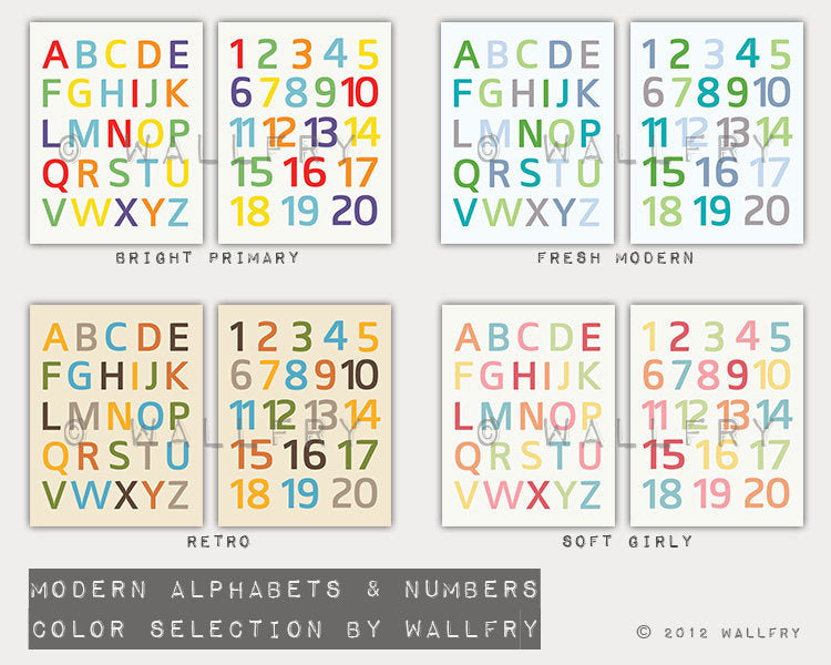 Nursery decor canvas wrap prints. Alphabet and numbers prints on canvas. ABC. Nursery wall art, children wall art. Canvas by WallFry