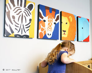 Nursery decor, SET OF ANY 6 safari animal canvas wrap series. African animal zoo animal canvas wall art for kids. Safari series by WallFry.
