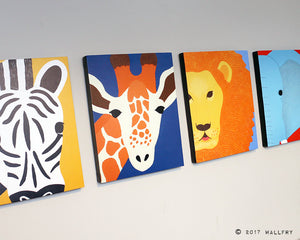 Nursery decor, SET OF 8 safari animal canvas wrap series. African animal zoo animal canvas wall art for kids. Safari series by WallFry.