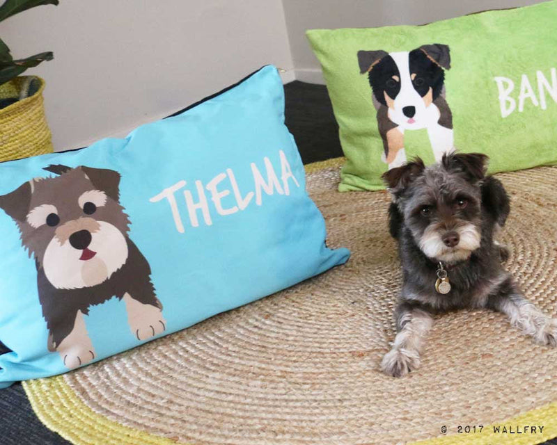 Two extra large dog pillows. All sizes custom, personalized with name and dog. Choose your pet bed color! Two fabrics to choose from.