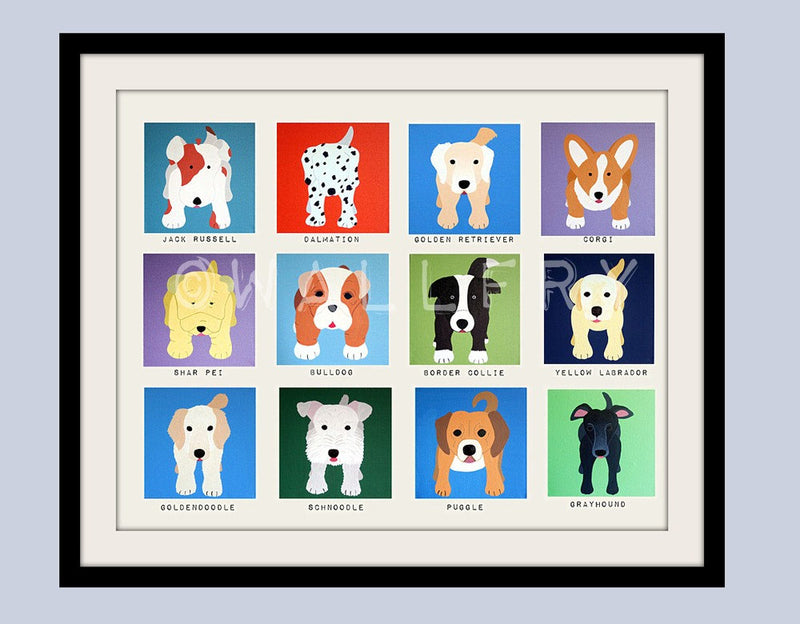 Cute dog wall prints. Dog nursery pictures kids wall art, kids decor. Art dog print Nursery decor dog lovers Art for children by WallFry
