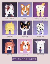 Dog nursery print. Art for baby. Personalized puppy picture in purple and pink for girls nursery decor. Kids decor by WallFry