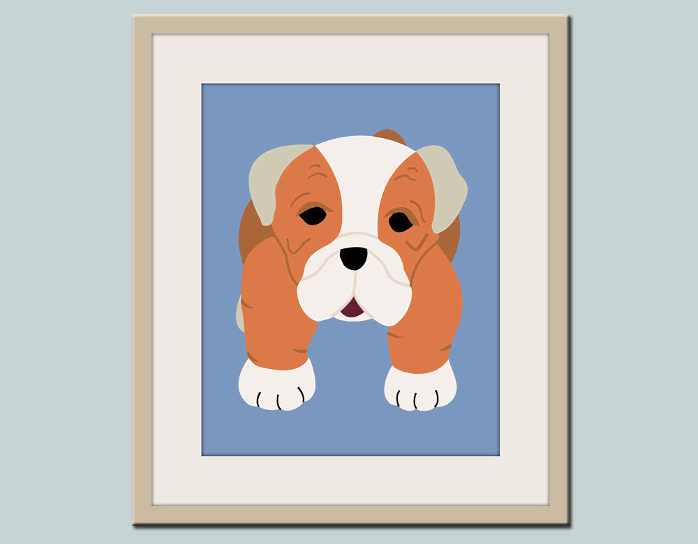 Bulldog Print for baby child nursery. Custom modern Puppy dog art in blue & orange for kids room decor from painting by WallFry