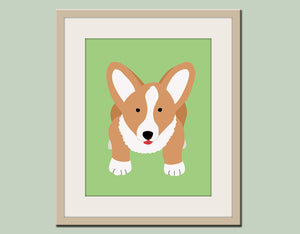 Corgi print. Dog nursery artwork for baby & kids in green. Custom colors. Dog Art, Dog print, Nursery art for kids by WallFry