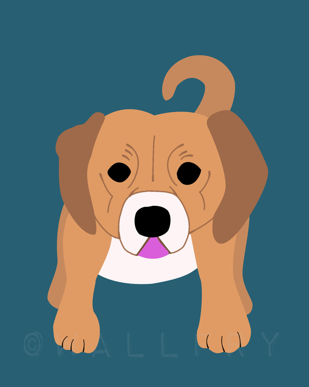 Puggle print. Dog nursery artwork for baby & kids room decor. Custom colors, turquoise teal and tan art by WallFry