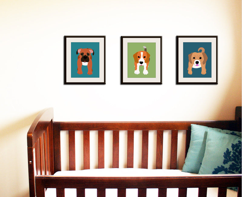 Dog Print for baby, nursery art for child. Custom modern Basset Puppy picture in blue for kids room decor from painting by WallFry