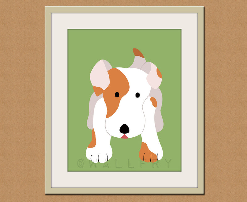 Jack Russell dog print. Puppy nursery artwork for baby & kids room decor theme. Custom colors, orange and green by WallFry