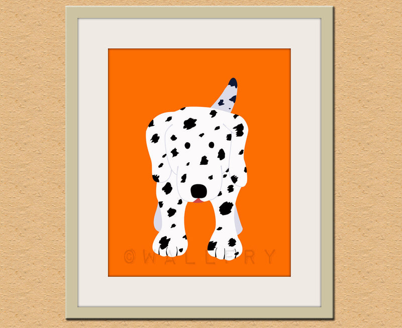 Dalmatian dog print. Dog nursery artwork for baby & kids room decor. Custom colors, orange and white by WallFry
