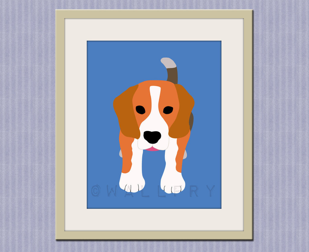 Beagle print. Dog nursery artwork for baby & kids room decor. Custom colors, blue and orange, Dog art, dog print by WallFry