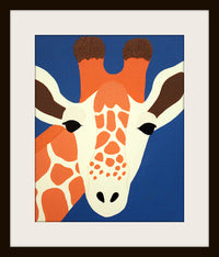 Personalized Giraffe Print baby nursery art. Personalized safari artwork, jungle, child zoo decor animal for kids rooms in blue and orange