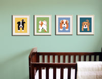 Dog art for kids. Art for children wall art. Baby nursery artwork. Any 4 Dog prints. Cute dog pictures. Nursery decor by WallFry