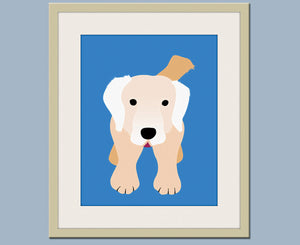 Golden Retriever dog print. Puppy nursery artwork for baby & kids room and playroom decor theme. Custom colors by WallFry