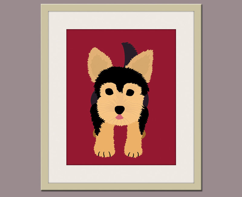 Yorkie dog print. Puppy modern nursery artwork for baby & kids room and playroom decor. Yorkshire Terrier by WallFry