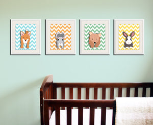 Fox chevron nursery artwork print. Woodland forest animals, friends & critters art picture for baby and kids playroom