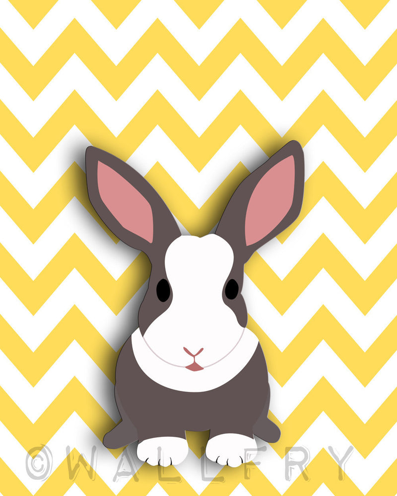 Rabbit chevron nursery artwork print. Woodland forest animals, forest themed bunny art picture for baby and kids playroom