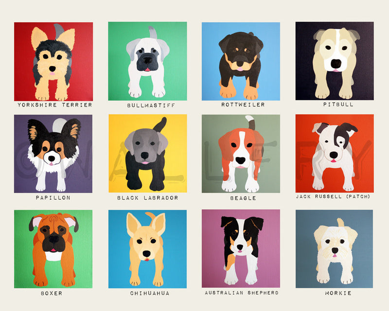 Dog art for kids. Art for children, Baby nursery artwork.  Dog wall prints. Kids decor. Nursery art. Cute dog pictures by WallFry
