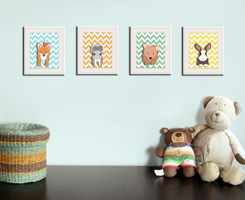 Woodland nursery art print. 4 chevron prints of forest friends critters. Fox bear cub, rabbit, squirrel. SET of 4 Woodland prints by WallFry