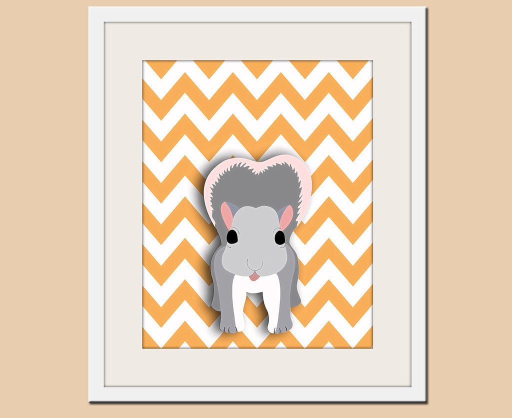 Squirrel chevron nursery artwork print. Woodland forest animals, friends & critters creatures art picture for baby and kids playroom