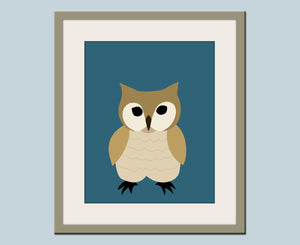 Owl nursery art forest animals prints. Nursery artwork woodland animal. Owl on teal / turquoise custom autumn colors.