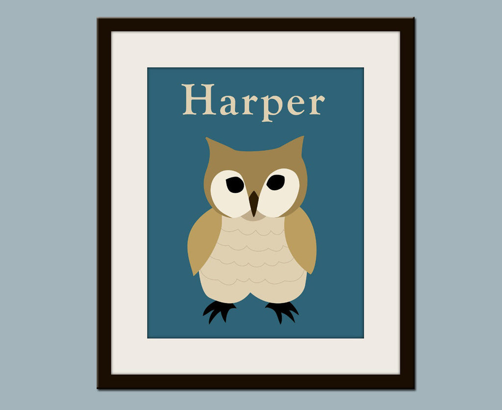 Personalized Owl nursery art print forest animals prints. Nursery artwork woodland animal. Owl teal  ustom autumn colors.
