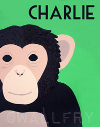 Personalized children art Monkey Print for nursery art. Safari artwork, baby jungle nursery animal for kids rooms in brown and green