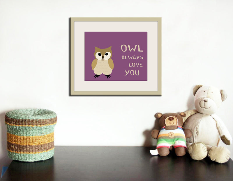Owl nursery art print forest animals prints. Nursery artwork woodland animal. Owl purple custom autumn colors.