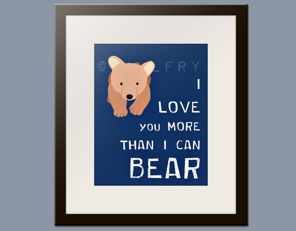 Nursery art print. Bear forest animals prints. Nursery decor artwork woodland critter. Bear navy blue custom colors.