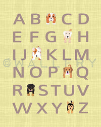 Dog alphabet nursery art for children. Typography alphabet print, dog art print for kids. Nursery decor, kids decor, ABC print
