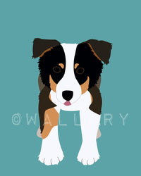 Australian Shepherd dog print. Puppy modern nursery art for baby & kids room and playroom decor theme. Dog theme art by WallFry
