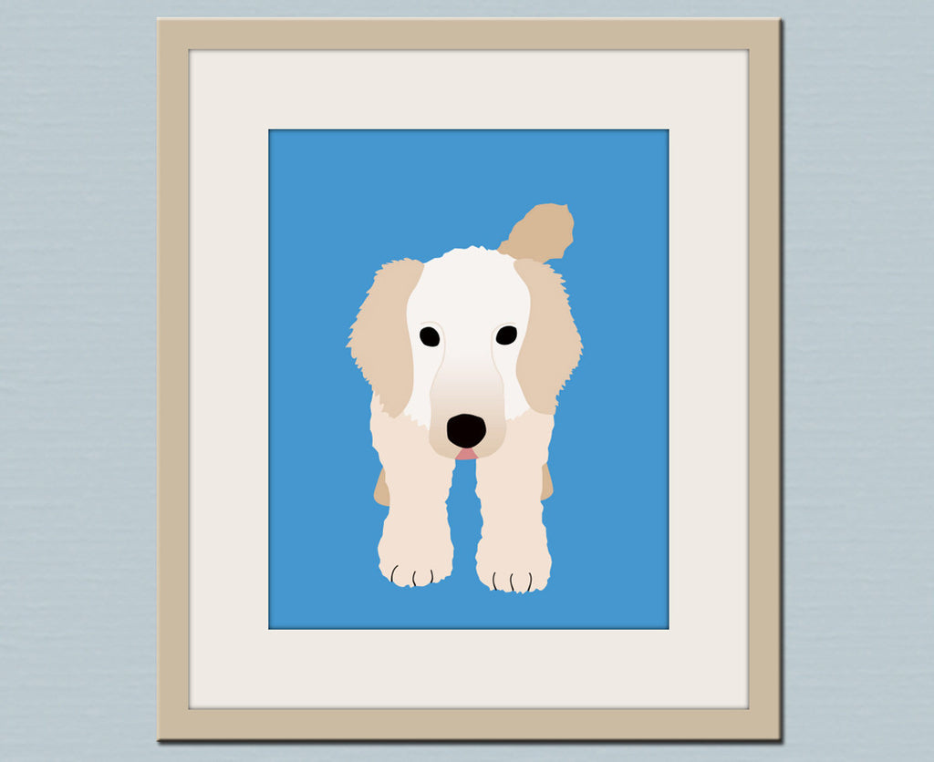 Goldendoodle dog print. Puppy modern nursery art for baby & kids room and playroom decor theme. Custom colors for dog theme by WallFry