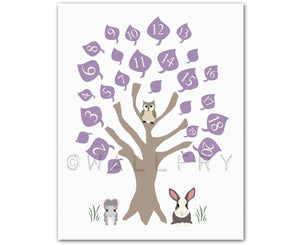 Nursery art print. 123 numbers nursery decor, children art, owl baby nursery print. Woodland wall art for kids by WallFry. ABC print