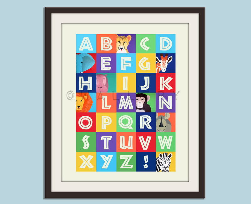 ABC wall art, animal alphabet print, children art. Safari art for nursery. Jungle ABC nursery decor. Childrens ABC print by WallFry