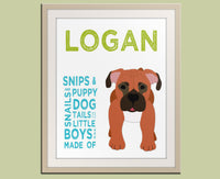 Personalized children art for boys. Baby boy nursery art. Baby nursery wall art. Kids wall art. Boy name art. Dog print by WallFry