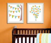 Balloon alphabet print. Balloons ABC poster. Nursery art print, abc nursery. Alphabet poster. Custom colors ABC balloon print by WallFry
