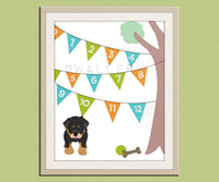 123 Numbers nursery art. Puppy dog nursery print. Bunting flag numbers poster for kids. Children decor, children art, art print by WallFry