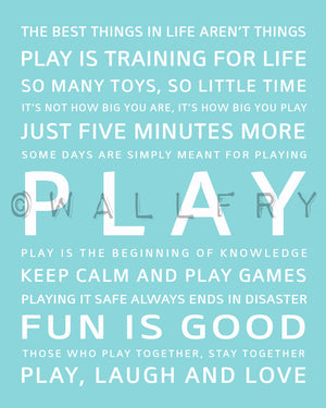 Children activity inspiration print. PLAY typography art print. Wall art quotes for playroom decor. Kids wall art print by Wallfry