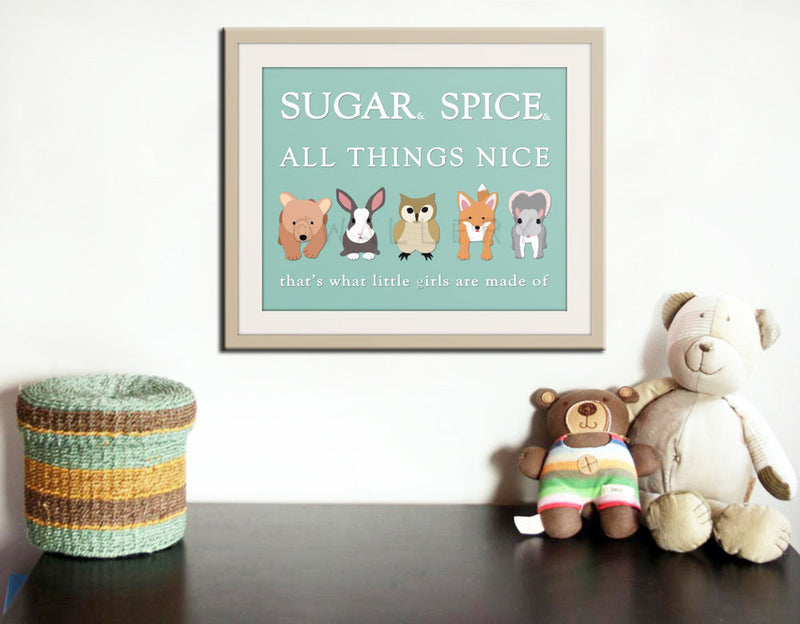Little girls nursery art. Baby nursery wall art, sugar & spice nursery rhyme. Baby shower gift, newborn baby girl. New print by WallFry